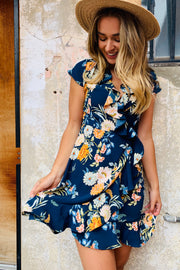 Natasha Navy Floral Dress With Front Ruffle Design