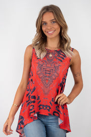 Amelia | Sleeveless Top In Red And Black Animal Print