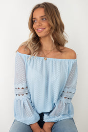 Leah | Detailed Off The Shoulder Top in Sky Blue