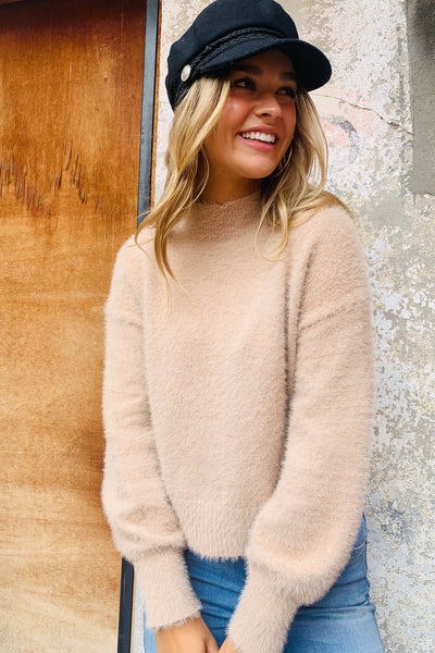 Mia | Nude Fluffy High Neck Knit