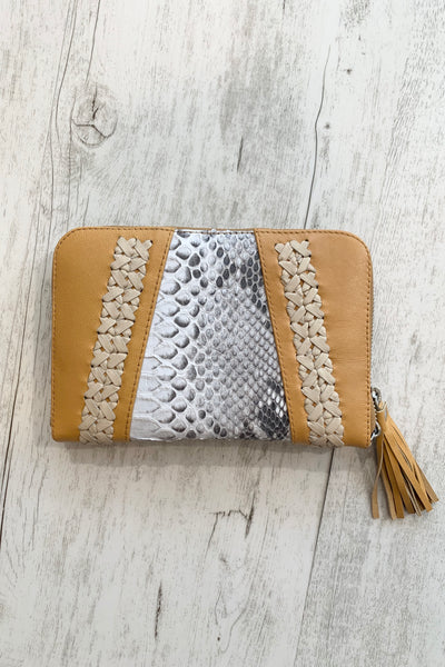 Aria | Sandy Tan Leather Wallet With Snakeskin Detail