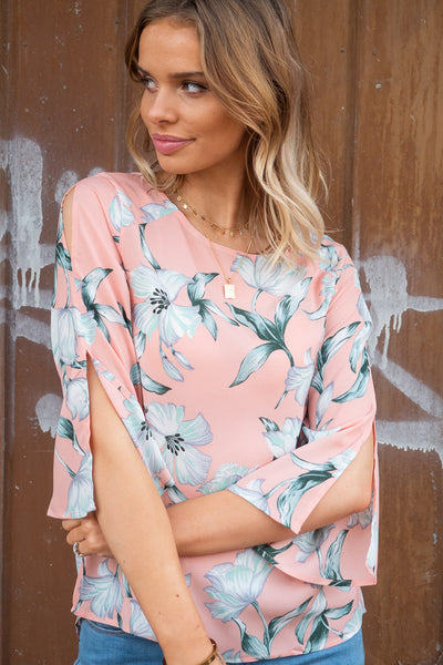 Florence | Floral Top with Slit Detail on Sleeve