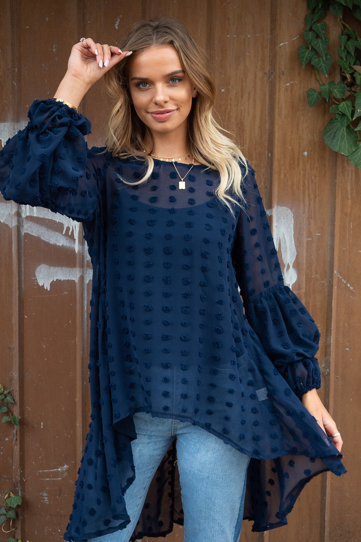 Bridgette | Asymmetric Hem Top in Navy