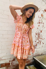 Scarlette | Short Mini Dress In Pink and Peach Print