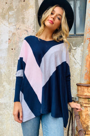 Hope | Loose Knit In Navy With Coloured Panels