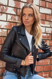 Elly | Black Leather Jacket with Belt