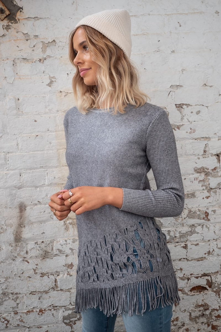 Maya Knit In Grey With Tassel