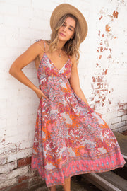 Hana Paisley Maxi With Shoestring Strap In Pink Print