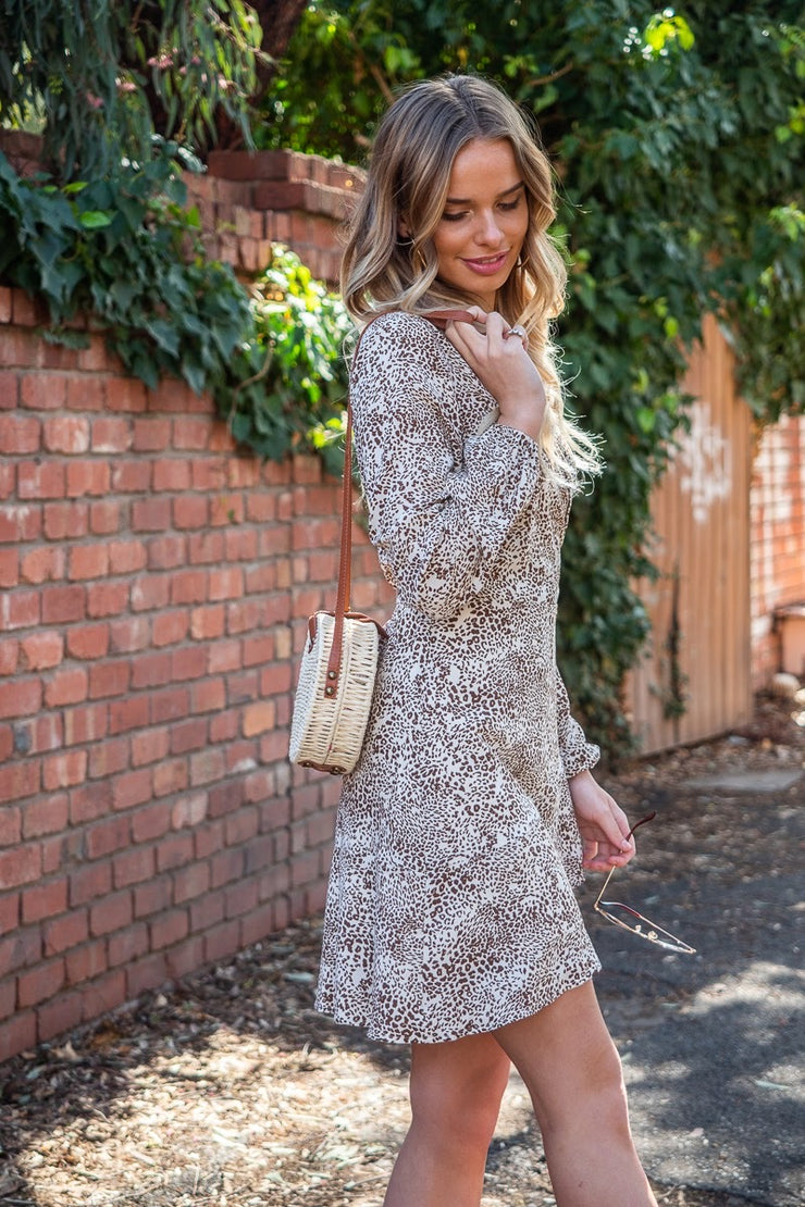Chloe | Animal Print Wrap Dress in Cream