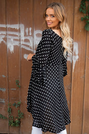 Alana | Black and White Polka Dot Top with Asymmetric Hem