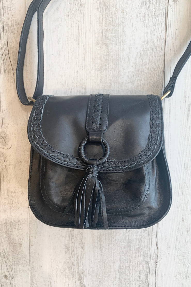 Alexis | Black Leather Small Bag With Front Tassel
