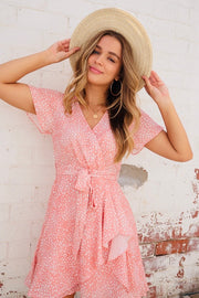 Lenni Blush And White Animal Spot Dress