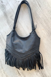 Nora | Tassel Black Leather Bag