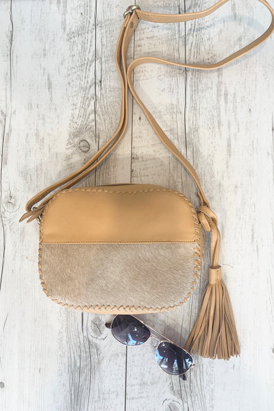 Tan Leather Cowhide Cross Over Bag