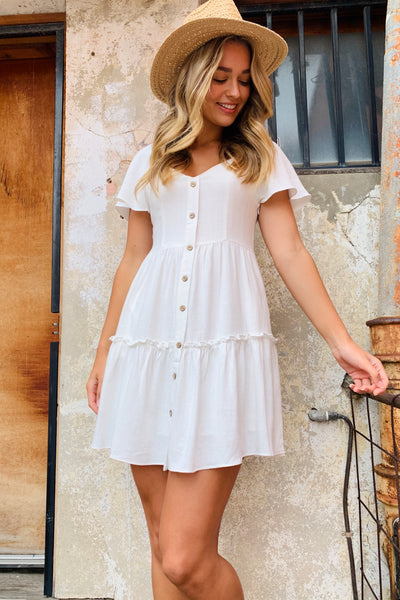 Poppi White Linen Dress