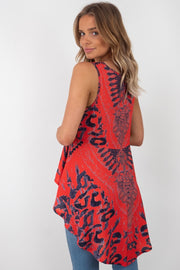 Amelia | Red Oversized Sleeveless Top with Animal Print and Diamanté