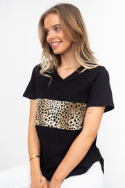 Luella | Leopard Black T-Shirt With Leopard Detail