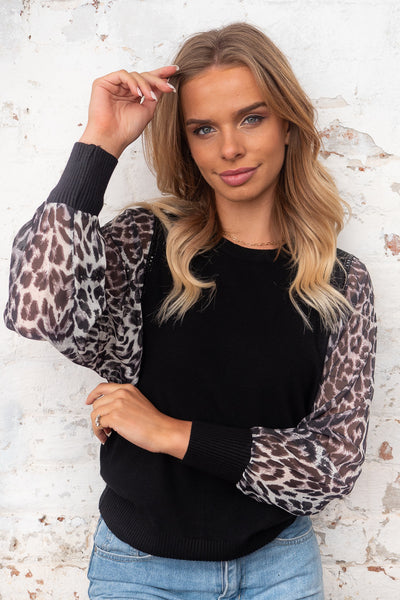 Grace Leopard Detail Sleeve With Black Knit with Black Sequin Detail