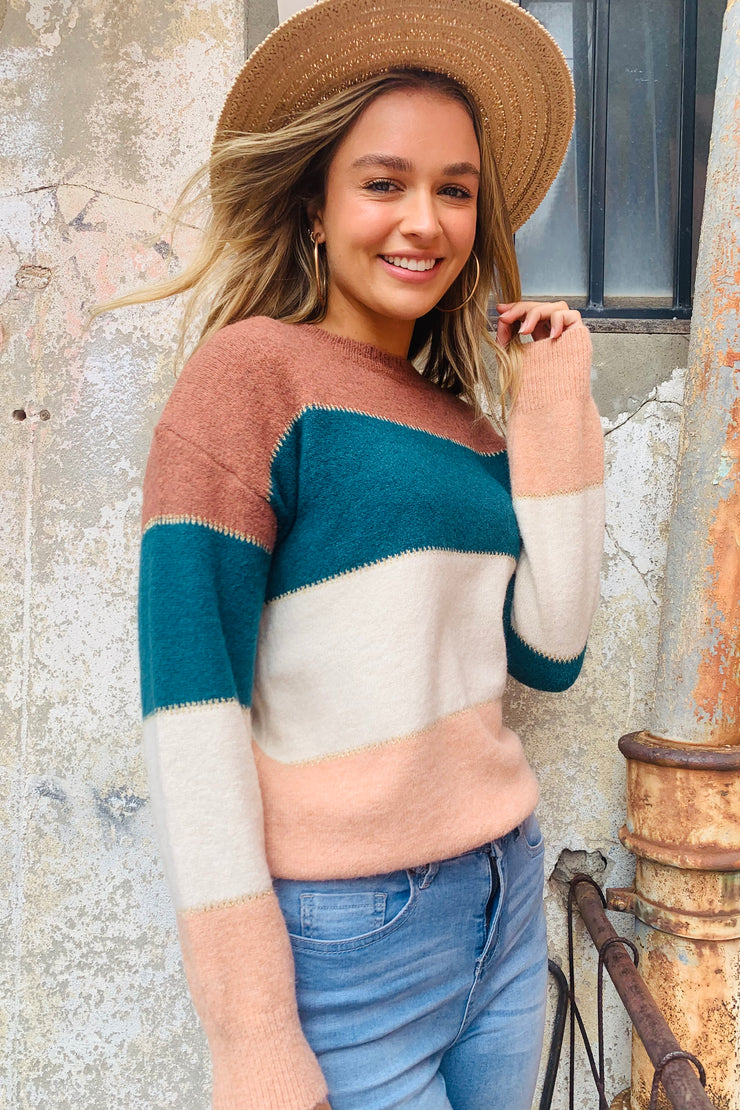 Jessie | Round Neck Stripe Knit In Jade Natural And Peach Tones