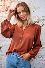 Evie | Studded Top with Sleeve Slit in Rust