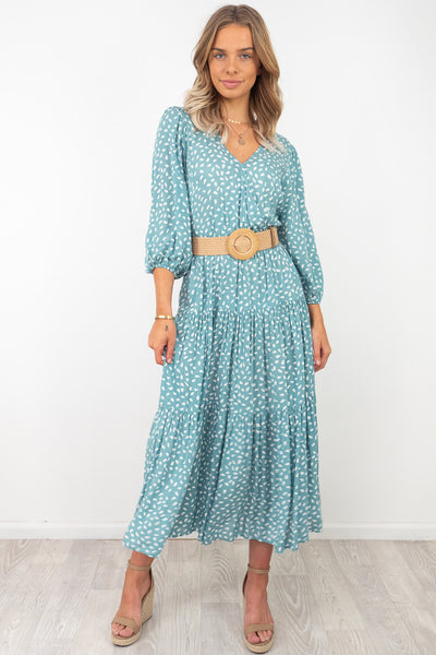 Lulu | Animal Spot Maxi Dress in Mint