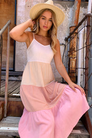 Charli Linen Dress in White Pink And Nude