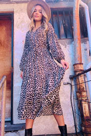 Georgia | Leopard Print Drawstring Midi Dress (New Arrival)
