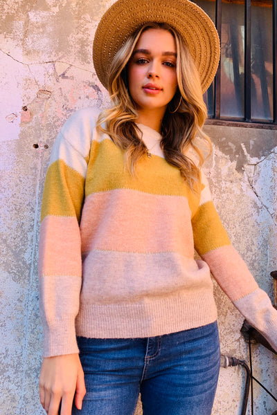 Lara Knit in Mustard Peach And Natural Stripe