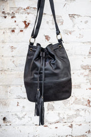 Black Leather Bucket Bag With Black Cowhide Fur