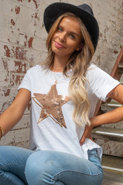 Amber | Gold Sequin Star Tshirt In White