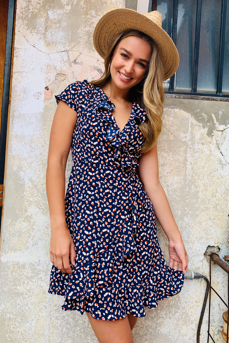 Natasha Dress With Front Ruffle In Navy