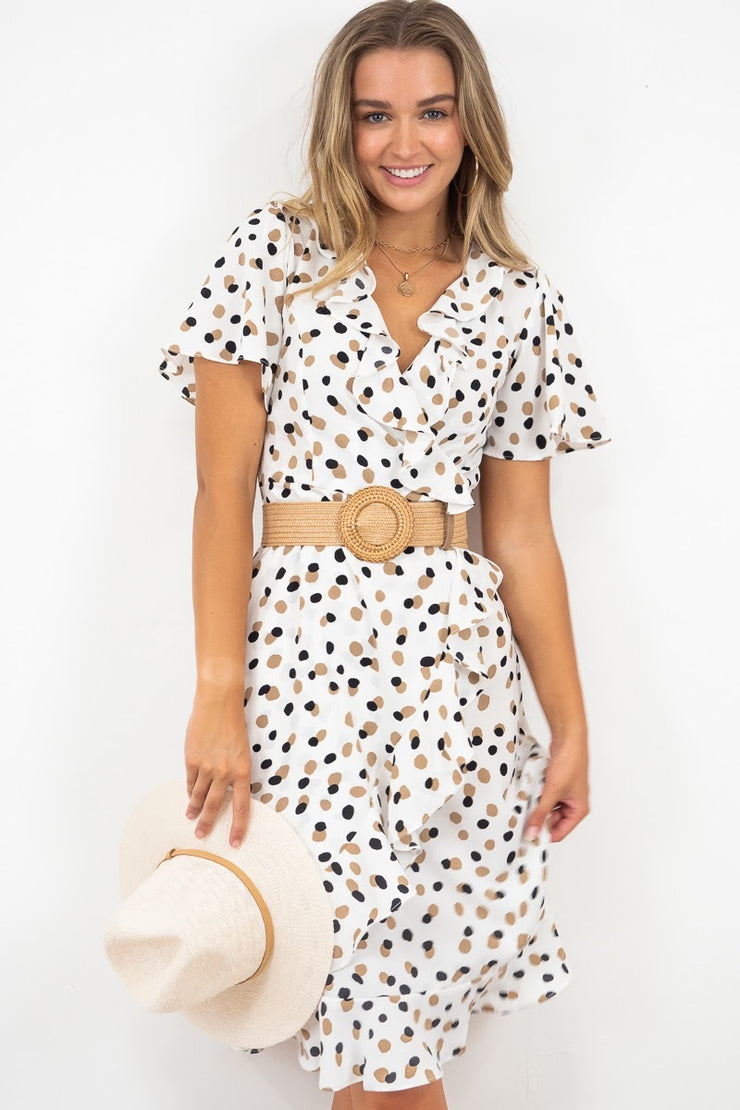 Katia | White Frill Dress In Polka Dot Print