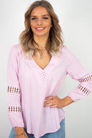 Alba | Long Length Top With Crochet Detail In Baby Pink