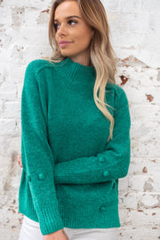Green Pom Pom Knit With High Neck Loose Style
