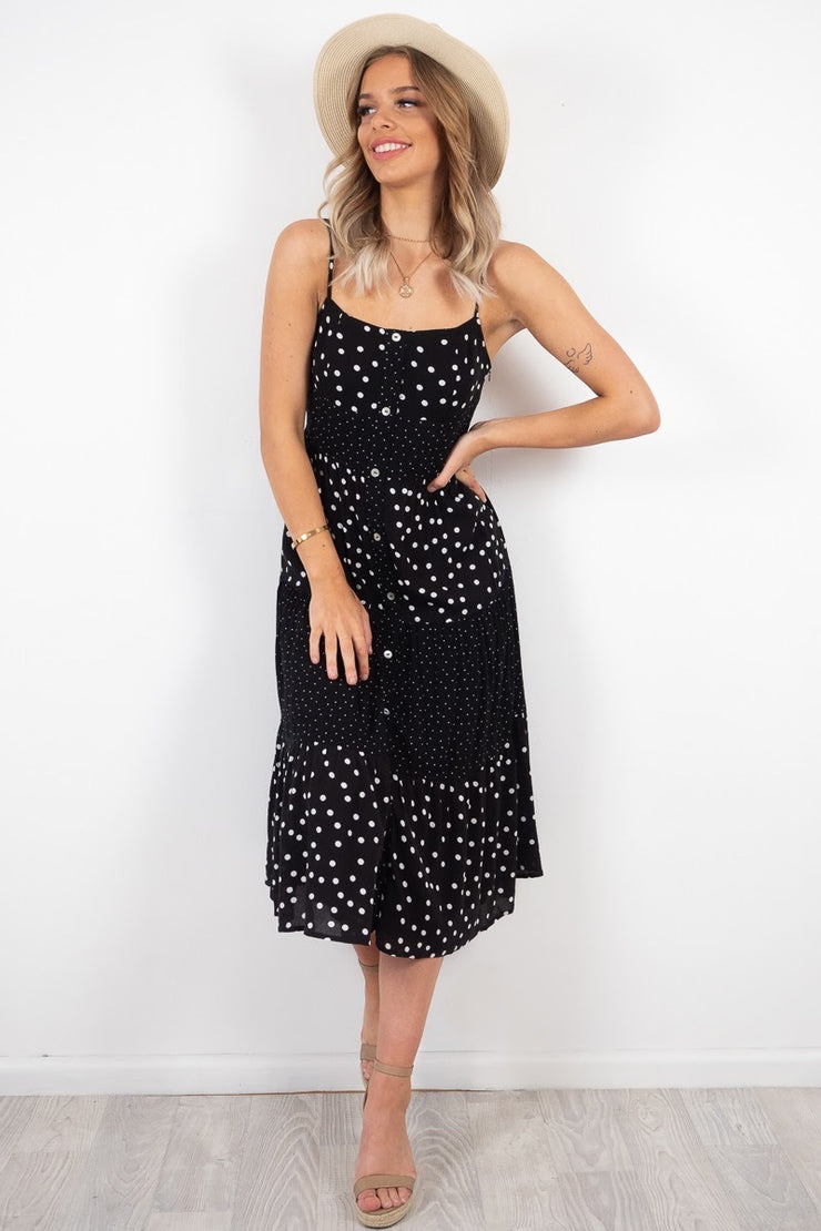 Storm | Maxi Dress In Black And White Spot Print