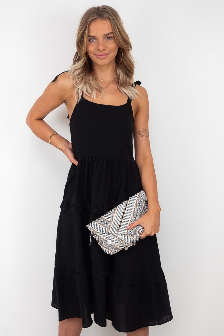 Luna Beaded Bag in Black And White With Detachable Silver Chain