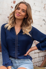 Evie | Studded Top in Navy
