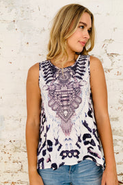 Amelia | Grey / Blue Oversized Sleeveless Top with Animal Print and Diamanté