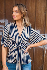 Zoe Stripe Short Sleeve Blouse With Tie Front Detail