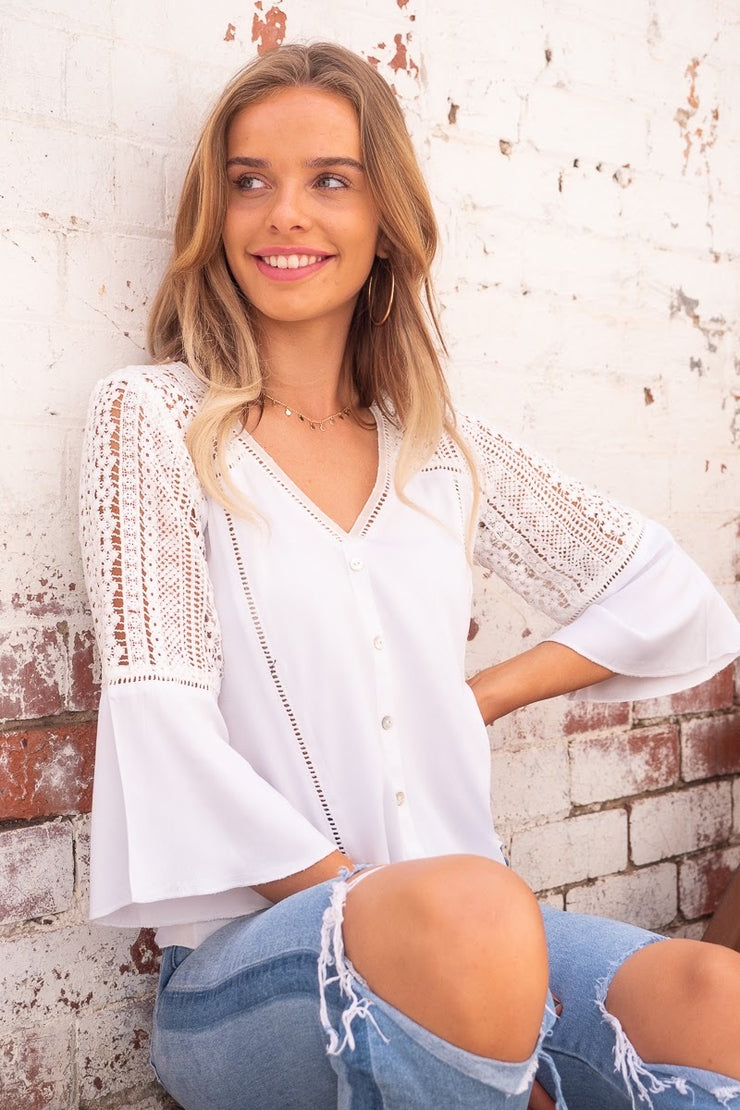 Halo and Hutch lace white top with buttons