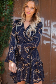 Holly Navy Long Sleeve Printed dress with Bell Sleeve