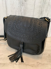 Halo Black Leather Bag With Front Embroidered Detail