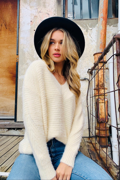 Leah | Fluffy V Neck Knit In Cream