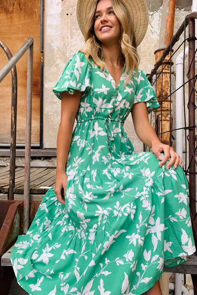 Martina Green and White Floral Maxi Dress
