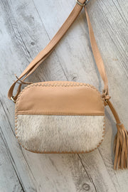 Jessie | Camel Leather Bag With Front Cowhide Detail