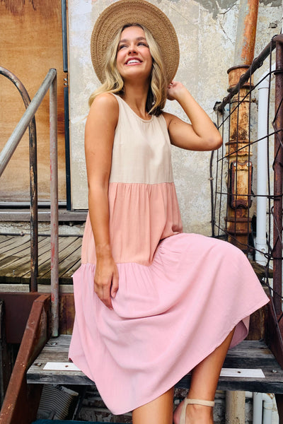 Marlow Dress In Oatmeal And Pink Tones