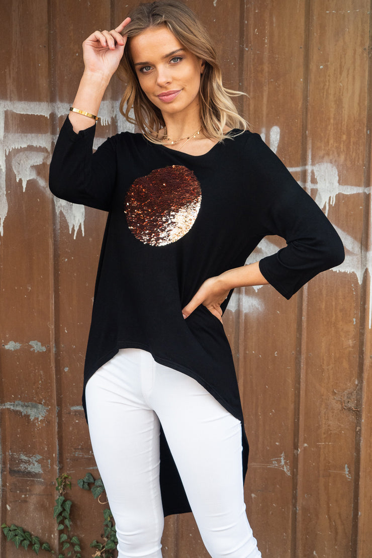 Abbi | Black Asymmetric Hem Top with Gold Sequin Spot