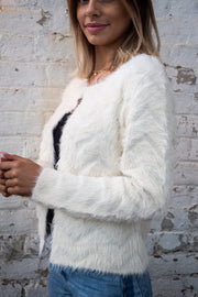 Maddison furry cream cardigan