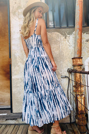 Eva | Tie Dye Maxi In Navy And White