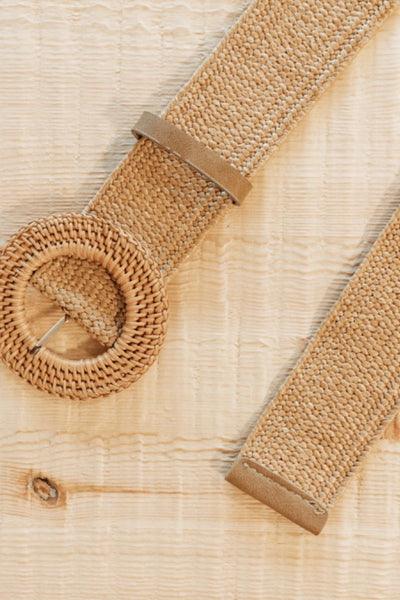 Elly Rattan Belt in Coffee